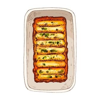 Enchilada en plaque - cuisine traditionnelle mexicaine. illustration de couleur d'éclosion vintage de vecteur. isolé sur fond blanc. conception dessinée à la main