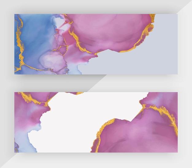 Encre d'alcool bleu et violet avec des bannières horizontales de paillettes d'or