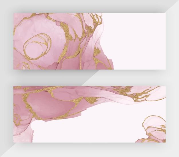 Encre d'alcool rose avec des bannières horizontales de texture de paillettes d'or