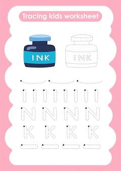 Encre - feuille de travail pour l'écriture et le dessin de lignes de trace pour les enfants