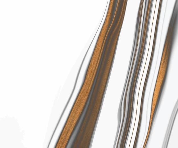 Encre liquide blanche et noire avec texture de lignes de paillettes d'or.