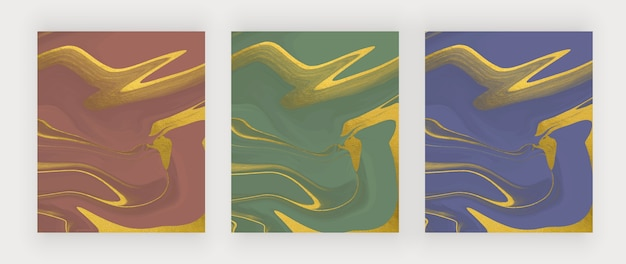 Encre liquide bleue, verte et rouge avec des arrière-plans abstraits de texture de feuille.
