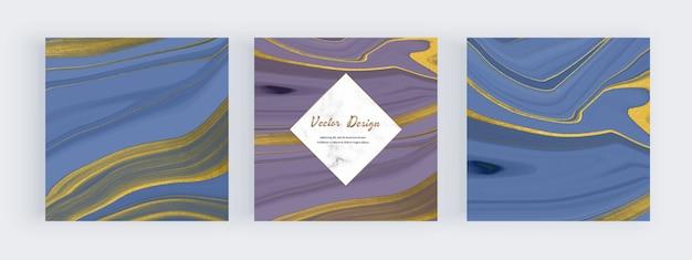 Encre liquide bleue et violette avec des bannières de texture de paillettes d'or et des cadres en marbre