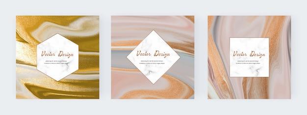 Encre liquide neutre avec des bannières de texture de paillettes d'or et des cadres en marbre