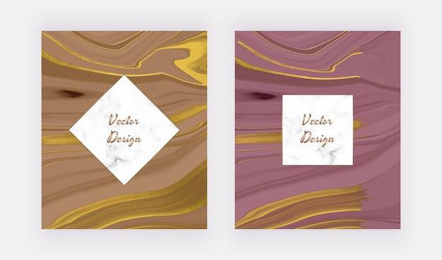 Encre liquide nue et violette avec des cartes abstraites de texture de paillettes d'or avec des cadres en marbre
