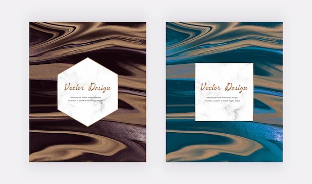 Encre liquide rouge et bleue avec des cartes abstraites de texture de paillettes d'or.