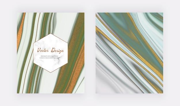 Encre liquide verte avec des couvertures de paillettes d'or pour les invitations