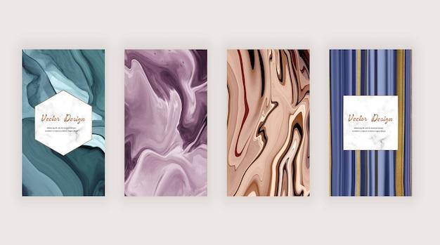 Encre liquide violette, bleue et brune avec une texture de paillettes dorées pour les médias sociaux