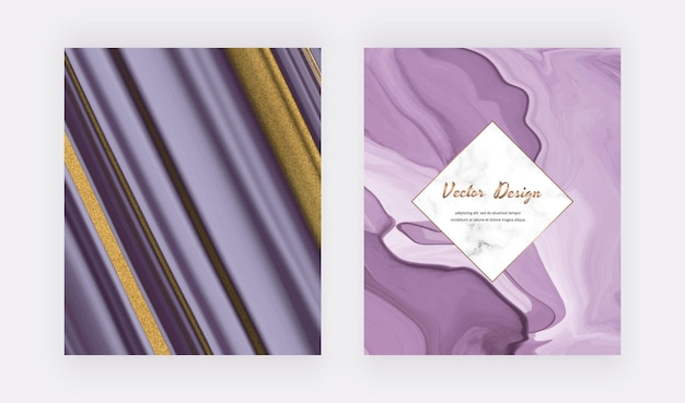 Encre liquide violette avec des couvertures de paillettes d'or pour les invitations