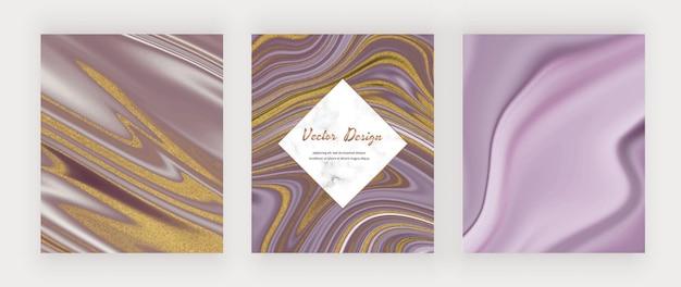 Encre liquide violette avec paillettes dorées et cadre en marbre.