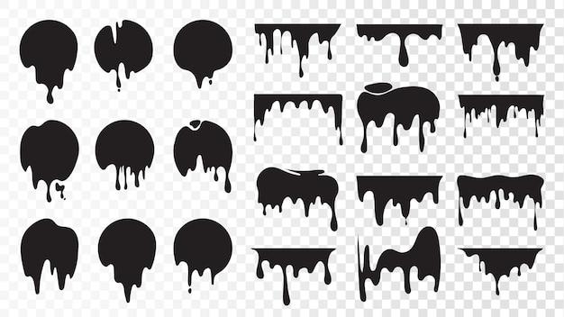 Encre noire dégoulinante. taches isolées de peinture, ensemble de taches d'huile flottantes.