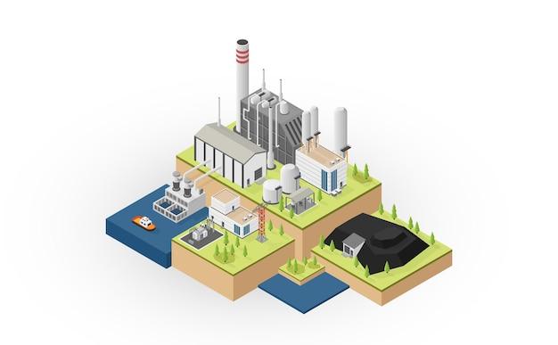 L'énergie du charbon, centrale électrique au charbon avec graphique isométrique