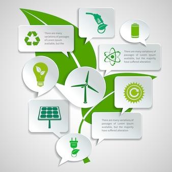 Énergie et écologie papier discours bulles entreprise infographie éléments de conception avec illustration vectorielle de feuille verte concept