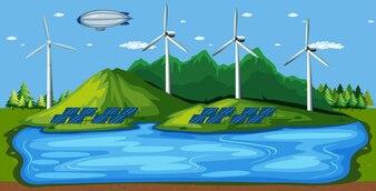 Énergie éolienne dans la nature