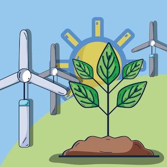 Énergie éolienne avec des plantes dans la montagne et le soleil