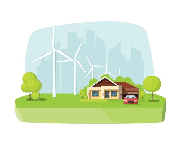 Énergie éolienne renouvelable et respectueuse de l'environnement avec la technologie de la maison intelligente