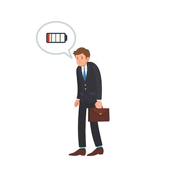Énergie de faible puissance du dessin animé de l'homme d'affaires