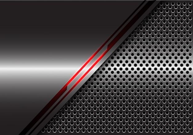 Énergie de ligne de lumière rouge sur fond de maille de cercle de métal gris.