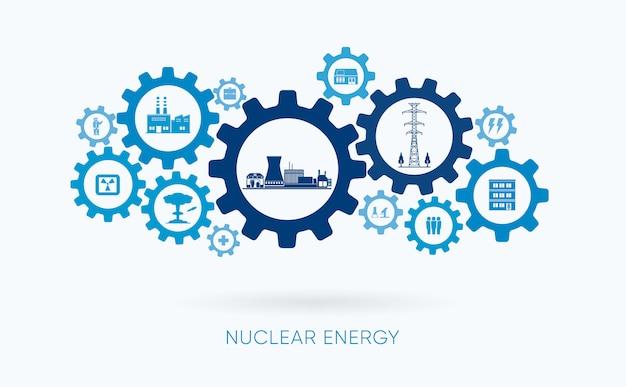 Énergie nucléaire, centrale nucléaire avec icône d'engrenage