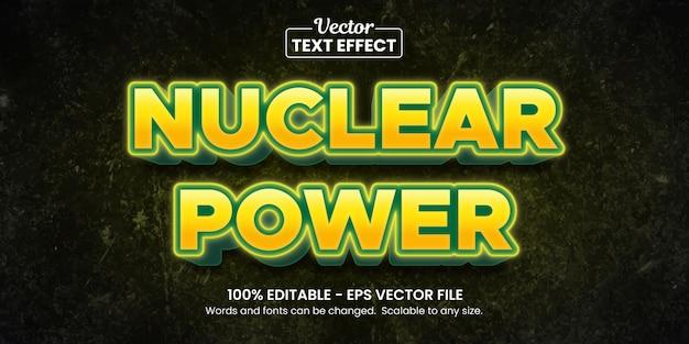 Énergie nucléaire jaune, effet de texte modifiable