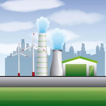 Énergie propre nucléaire centrale éolienne géothermique renouvelable
