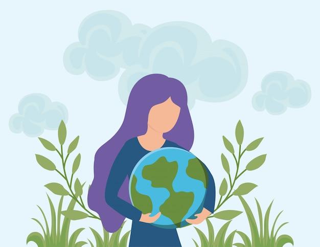 Energie renouvelable, femme avec la planète terre