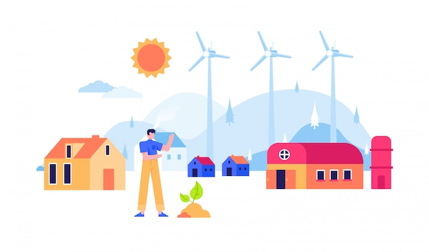 Énergie renouvelable moulin à vent nucléaire panneau solaire électricité design plat illustration