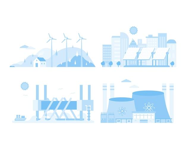 Énergie renouvelable nucléaire moulin à vent électrique ville voiture design plat illustration