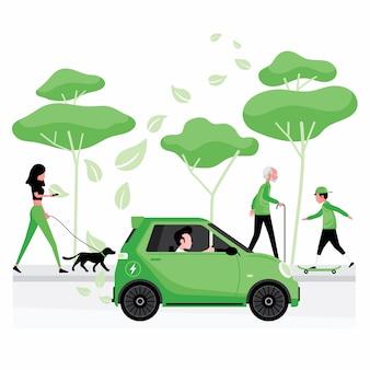 Énergie verte ou alternative pour les personnes conduisant une voiture électrique