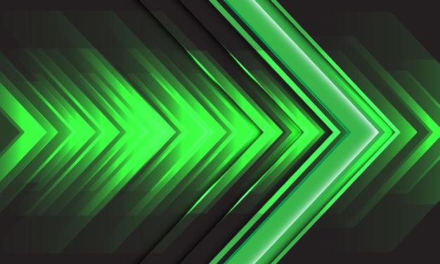 Énergie de vitesse de flèche de lumière verte abstraite sur la technologie de fond futuriste moderne design noir
