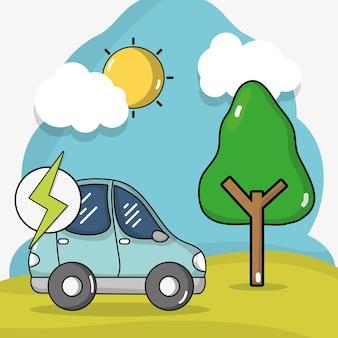 Énergie de voiture électrique avec la charge de la batterie