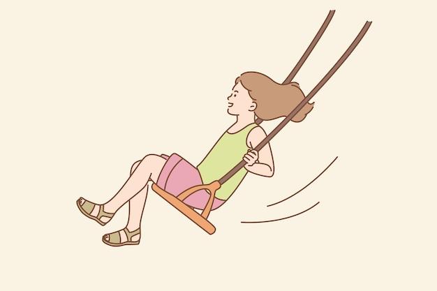 Enfance heureuse, concept d'activités estivales. jeune fille souriante assise à cheval sur la balançoire un été s'amusant à l'extérieur illustration vectorielle