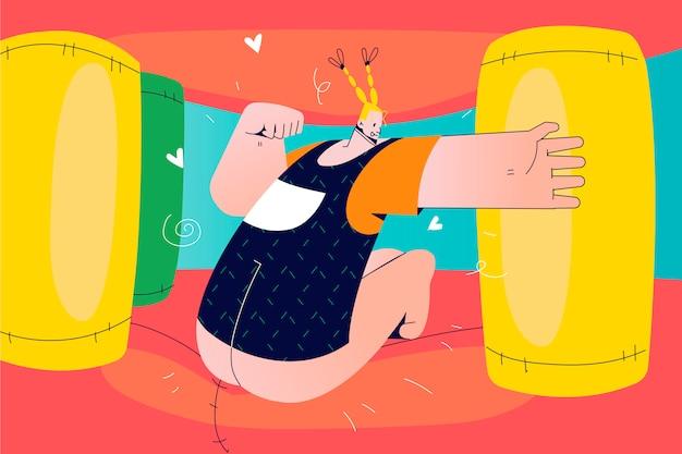Enfance, joie, loisirs, fête, concept d'activité. jeune enfant heureux enfant fille sautant sur un trampoline coloré dans le château gonflable de rebond à la maternelle pour célébrer l'anniversaire. mode de vie estival actif