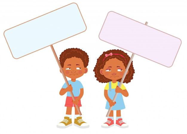Enfant africain, tenue, bannière