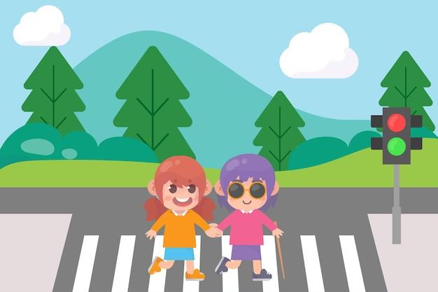 Enfant aide un ami aveugle carrefour