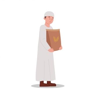 Enfant arabe portant un sac de dessin animé de riz