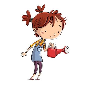 Enfant avec arrosoir à la main illustration