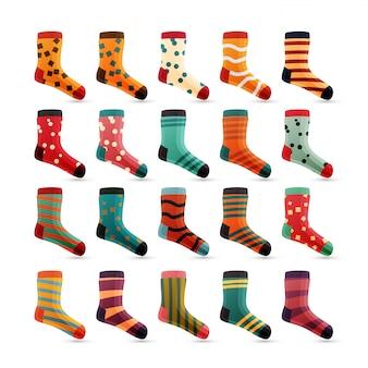 Enfant chaussettes icônes vectorielles. icônes mignonnes colorées. ensemble de chaussette isolé sur fond blanc. coton usure de couleur.
