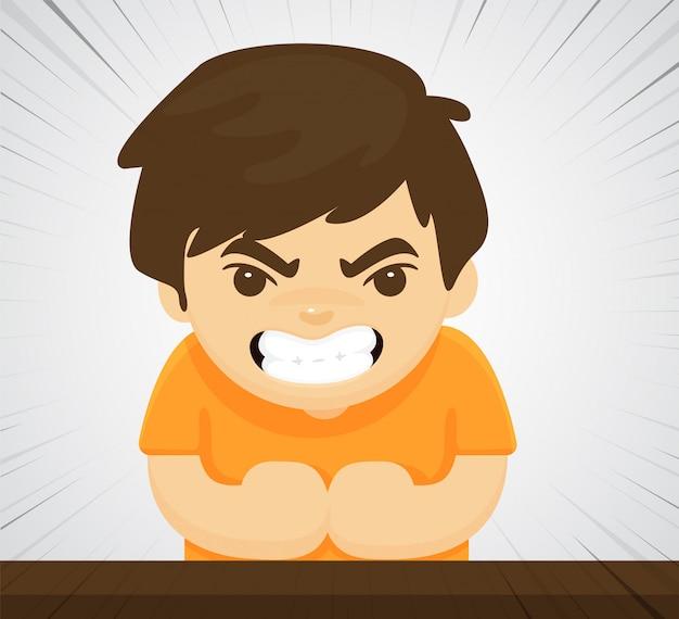 Un enfant en colère qui montre un comportement agressif violent parce qu'il a été élevé à tort.