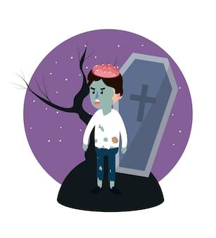 Enfant en costume de zombie