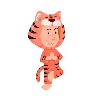 Enfant dans le style plat de personnage de dessin animé de costume de tigre.