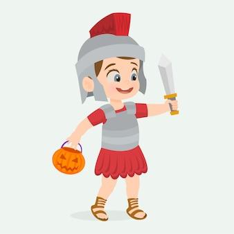 Enfant déguisé en soldat romain