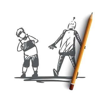 Enfant dessiné à la main avec robot