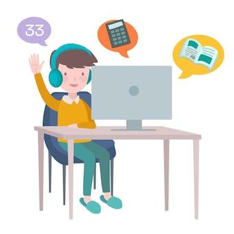 Enfant faisant des leçons en ligne