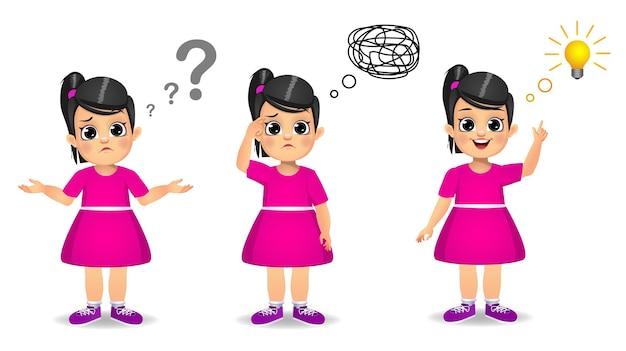 L'enfant de fille mignonne recherche le processus d'idée