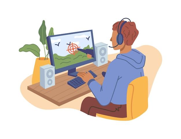 Enfant garçon adolescent jouant à un jeu vidéo en ligne sur un personnage de dessin animé plat isolé sur ordinateur dans