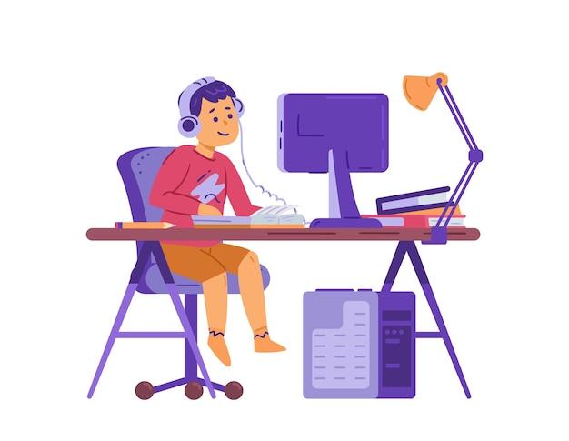 Enfant garçon est assis au bureau devant l'illustration vectorielle plane d'ordinateur isolée