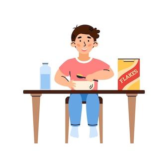 Enfant garçon mange des flocons de céréales pour le petit déjeuner cartoon vector illustration isolé