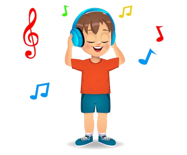 Enfant Garçon Mignon écoutant De La Musique Vecteur Premium