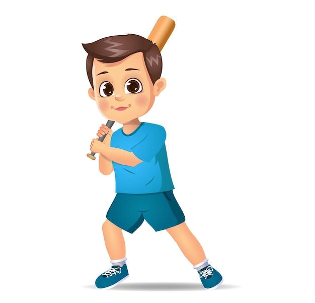 Enfant de garçon mignon jouant au base-ball